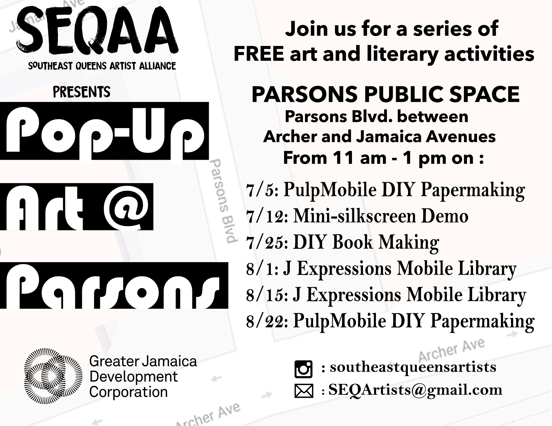 SEQAA Parsons pop ups 2018